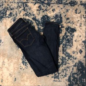 Levi's 711 Selvedge Dark Wash Skinny Jeans Sz 25